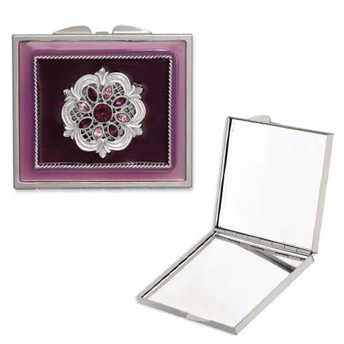 Silver-tone Steel Purple Enameled/Purple Crystal Rectangular Compact. Price: $66.68