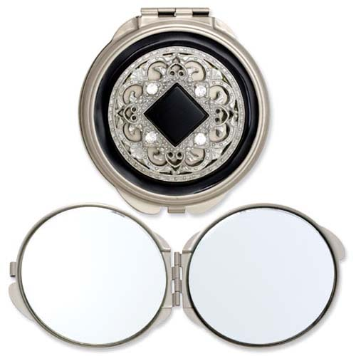 Silver-tone Steel Black Enameled/Clear Crystal Round Compact. Price: $40.02