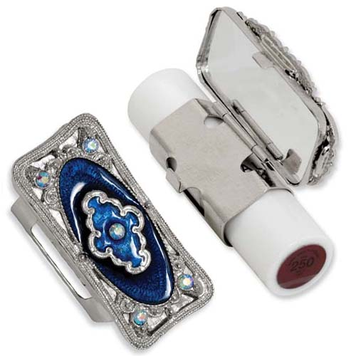 Silver-tone Blue Enameled Lipstick Holder. Price: $40.02
