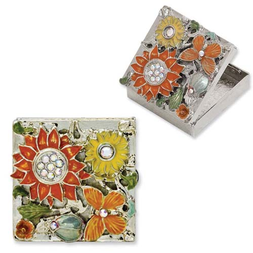 Silver-tone Textured Orange/Yellow Enameled Floral Square Brass Pillbox. Price: $61.13