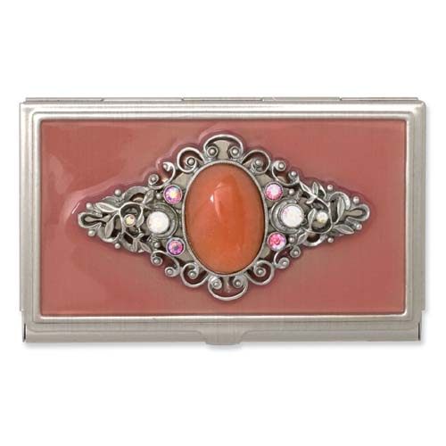 Steel Peach Enameled & Strawberry Quartz Business Card Holder. Price: $61.13
