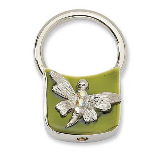 Silver-tone Dragonfly With Crystals Olive Enamel Key Fob. Price: $30.00