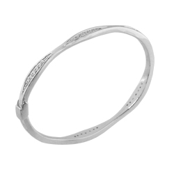 Sterling Silver Cuts of Love Bangle with CZ
