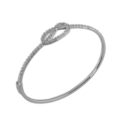 Sterling Silver Knot Bangle With CZ
