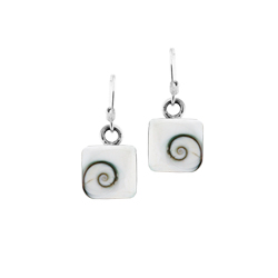 Sterling Silver 10x10mm Square Dangle Earrings with Eye of Shiva Shell Inlay