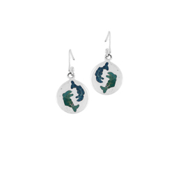 Sterling Silver Round Dangle Earrings with Blue and Navy Pisces Enamel Inlay