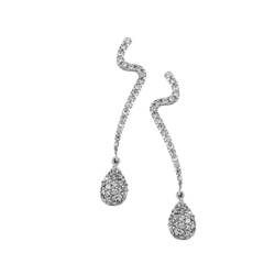 Sterling Silver Pave Cubic Zirconia Zigzag and Drop Stud Earrings