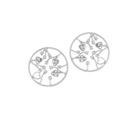 Sterling Silver Buds in Circle Stud Earrings with Cubic Zirconia