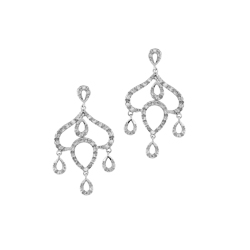 Sterling Silver Pave CZ Dome-Shaped Earrings