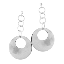 Sterling Silver Dangling Circle Stud Earrings