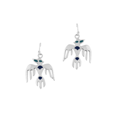 Sterling Silver Eagle Dangle Earrings with Blue Enamel Dots