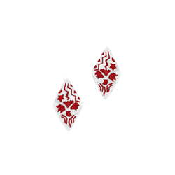 Sterling Silver Diamond-Shaped Stud Earrings with Red Enamel Tribal Pattern