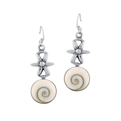 Sterling Silver Flower and Circle Dangle Earrings with Eye of Shiva Shell Inlay