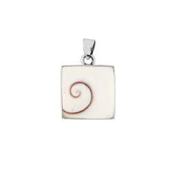 Sterling Silver Square Pendant with Eye of Shiva Shell