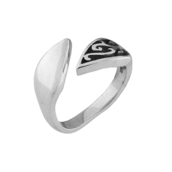 Leaves and Arrow Free Size Plain Sterling Silver Ring