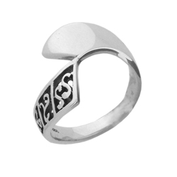 Carved Band Plain Sterling Silver Ring
