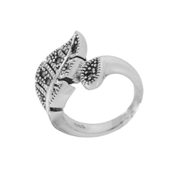 Curled Leaf Sterling Silver Ring with Marcasite