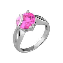 Pink Heart Sterling Silver Ring with CZ