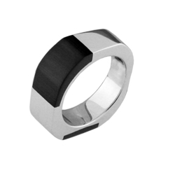 Rounded Corners Sterling Silver Ring with Black Cat's Eye