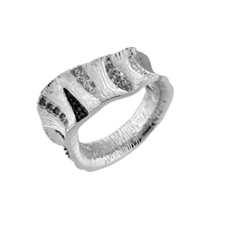 Sterling Silver Tree Bark Ring with Crystal And Black Stripes