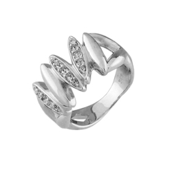 Sterling Silver Ring with Solid and Pave Set Crystal Petals