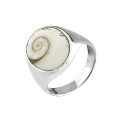 Oval Sterling Silver Ring with Eye of Shiva Shell Inlay