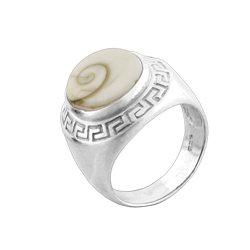 Greek Pattern Sterling Silver Ring with Oval Eye of Shiva Shell Inlay