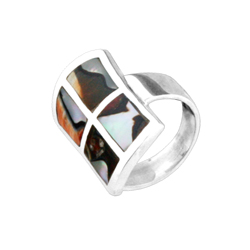 Sterling Silver Ring with Four Rectangular Turbo Shell Inlays