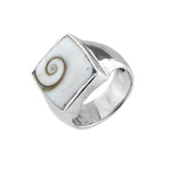 Sterling Silver Ring with Square Eye of Shiva Shell Inlay