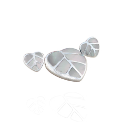 Sterling Silver Leaves Set with White Mother of Pearl Inlays