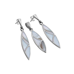 Sterling Silver Pointed Oval Set with White Mother of Pearl Inlays