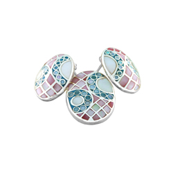 Sterling Silver Oval Set with Multicolored Mother Of Pearl Inlays