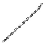 Sterling Silver Leaf Links Bracelet with Marcasite