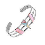 Sterling Silver Cuff with Multicolor Triangular and Rectangular Mother of Pearl Inlays
