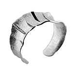 Sterling Silver Bark Wide Cuff with Crystals and Black Stripes