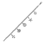 Sterling Silver Multi Charms Bracelet