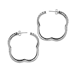Sterling Silver Filigree Faux Square Hoop Earrings
