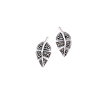 Sterling Silver Leaf Stud Earrings with Marcasite