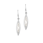 Pointed Oval Sterling Silver Dangle Earrings With White Mother Of Pearl