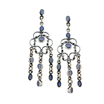 Sterling Silver Chandelier Earrings with Blue Mother of Pearl Inlay