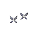 Sterling Silver Butterfly Stud Earrings with Blue Mother of Pearl Inlay