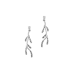 Sterling Silver Twig Stud Earrings with Cubic Zirconia