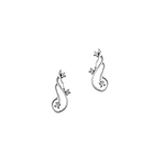 Sterling Silver Wide Curl Stud Earrings with Cubic Zirconia