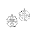 Sterling Silver Cross in Circle Stud Earrings with Cubic Zirconia