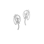 Sterling Silver Cat Whiskers Stud Earrings with CZ