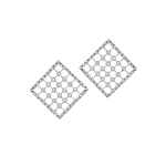 Sterling Silver Square Rack Stud Earrings with Cubic Zirconia