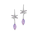 Sterling Silver Zigzag and Drop Dangle Earrings with Amethyst CZ