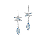 Sterling Silver Zigzag and Drop Dangle Earrings with Simulated Blue Topaz