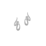 Sterling Silver Scribble Stud Earrings with CZ