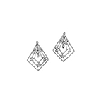 Sterling Silver Triple Diamond Stud Earrings with CZ